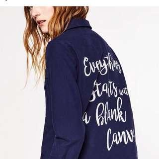 Zara Denim Printed Jacket/Vest