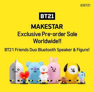 <PO> Limited Edition BT21 Friends Duo Bluetooth Speaker & Figure set