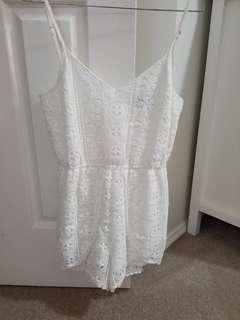 WHITE DOUBLE LAYERED PLAYSUIT