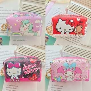 Cartoon Collections Hello Kitty Unicorn My Melody Cosmetic Pouch / Card Coins Keys Storage Pouch