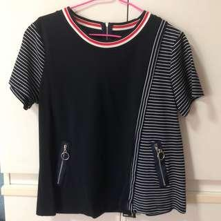 Kiyo Office Navy Blue Stripes Blouse