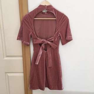 Keepsake dusty pink velvet mini dress
