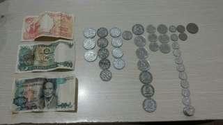 Uang kuno koin dan kertas rupiah