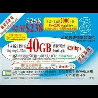 40GB Data SIM Card 4G LTE