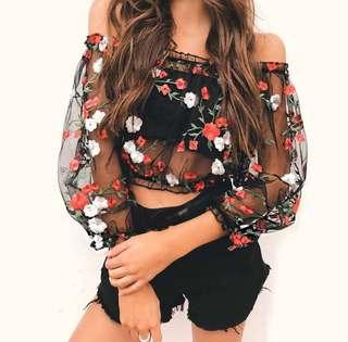 Embroidery Floral Off Shoulder Mesh See Through