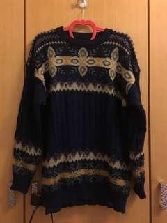 🚚 古著 深藍粗針織毛衣