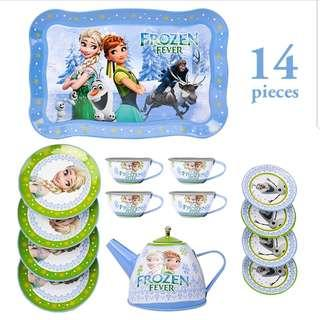 (T4) 14pcs Frozen Elsa Princess Baby Girl Children Stainless Steel Afternoon Tea Dessert Cake Teapot Teacups Cooking Toy in Disney Box Set