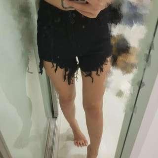 NEW High Waist Black Ripped Denim Shorts