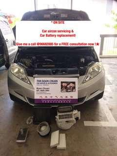 * ON SITE * car aircon servicing & car battery replacement car filter car cooling coil car compressor replacement vehicle air con servicing car aircon repair call me now @96682885 for a FREE consultation