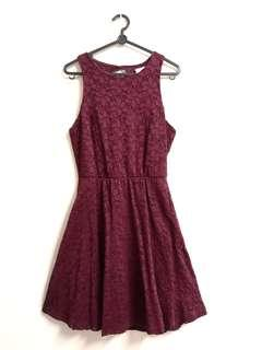 🚚 Cotton On Maroon Floral Dress