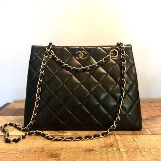 Authentic Chanel Trapezoid Lambskin Bag w 24k Gold Hardware