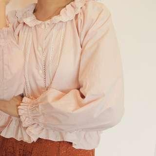 Vintage pink puff sleeve blouse