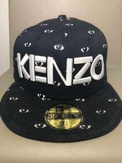KENZO Fitted 7 1/4 Black Eye Print Logo Cap