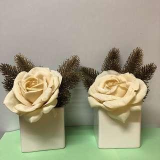 ($40 2個) 裝飾花 連花瓶 (方形)