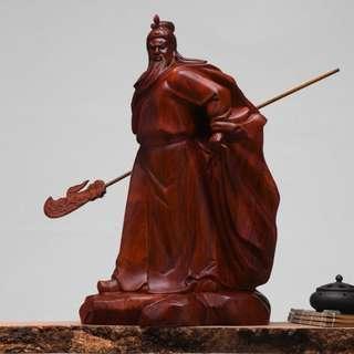 天然 花梨木 精緻雕刻 單刀赴會 關公 關聖帝君 手工 木雕 雕刻 藝術品 雕刻藝術 擺件 招財 避邪