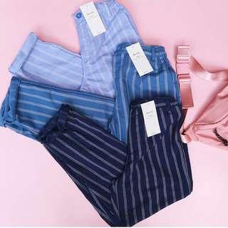 B3RSKHA STRIPE PANTS BLUE