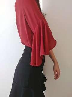 🚚 Red Bell Sleeved Blouse
