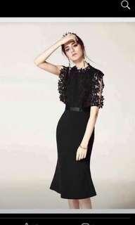 Black dress with lace top part