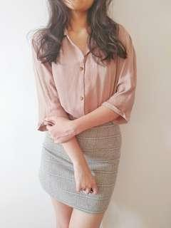 🚚 Light Brown Collared Blouse