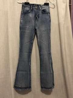 Acid Wash Flare Pants