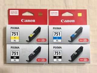 NEW genuine CANON PIXMA 751 XL ink cartridges (CYAN, YELLOW, BLACK)