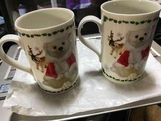 🚚 2個特價,TEDDY & FRIENDS 泰迪熊 / 聖誕 TEDDY 象牙白瓷杯