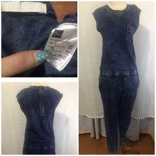 Uniqlo blue washed jumpsuit