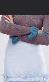 🚚 Pale blue ruffle a line skirt