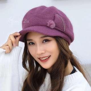 韓版秋冬鴨舌羊毛針織帽