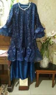 dress gaun organza navy
