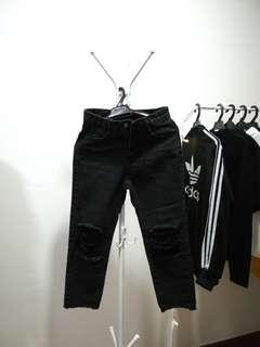 Petite Straight Cut Ripped Jeans