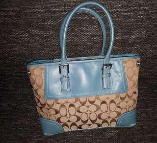 Coach Hampton Satchel handbag No. M0720-F11220  blue brown