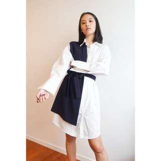 🚚 韓國帶回藍色拼接襯衫洋裝