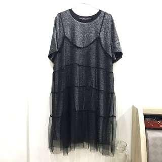 🚚 韓貨-兩件式銀蔥黑紗裙(二手,保存良好)
