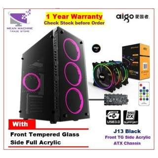 #Aigo J13 ATX Front Tempered Glass Gaming Chasis With RGB Fan Combo#