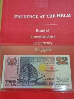 Singapore $2 Dollars Ship Prudence at the helm with folder JB 002950 Gem UNC