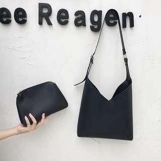 Black Sling Bag free small zip bag