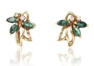 Pretty Estate Diamond Emerald 14K Yellow Gold Floral Stud Earrings