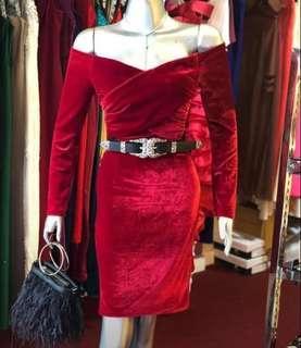 Red sabrina dress
