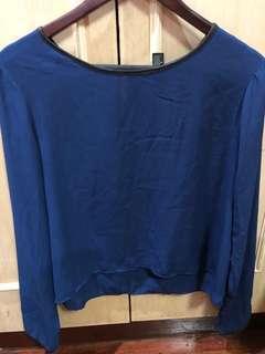 Forever21 Sheer Top - Dark blue