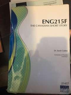 University of Toronto ENG215F Canadian Short Stories