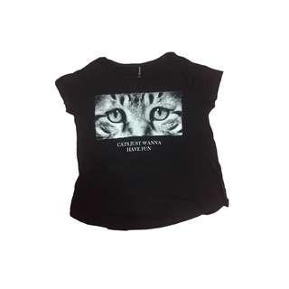 stradivarius cat tee