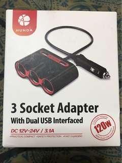 3 Socket Adapter/2 USB for car