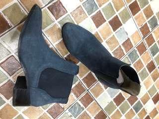 🚚 藍色真皮靴 25.5