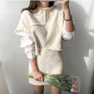 🚚 韓國購入白色短裙套裝