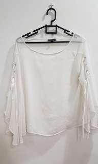 TopShop White Lace Sleeves Top #JAN55