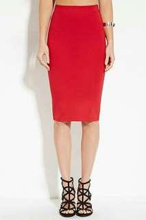 Red Micro-Ribbed Bodycon Skirt