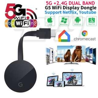 Dual Band 5G Chromecast G5 Wireless Wifi HDMI Display Adapter Dongle Google Netflix YouTube Chrome Android iOS MiraScreen TV Stick Screen Mirroring Tablet PC Laptop Airplay DLNA iphone ipad