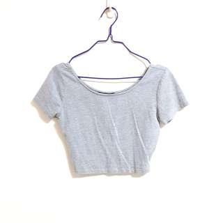 F21 Grey Cotton Crop Top
