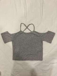 🚚 Grey Off Shoulder Crop